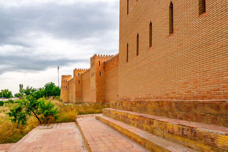 Kulob Vose Hulbuk Fortress Picturesque View of Fortified Walls on a Cloudy Rainy Blue Sky Day