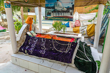 Hyderabad Sarfaraz Khan Kalhoro Shrine Picturesque View with Decorated Graves on a Sunny Blue Sky Day