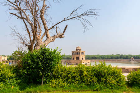 Sheikhupura Hiran Minar Picturesque Breathtaking View of a Pool Pavilion on a Sunny Blue Sky Day