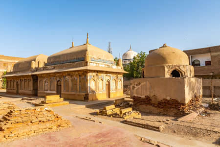 Hyderabad Tombs of the Talpur Mirs Mausoleum Containing Graves of Two Females and an Infant View at a Sunrise Blue Sky Day