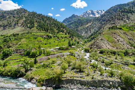 Astore River Valley Picturesque Breathtaking View of a Village and Landscape on a Sunny Blue Sky Day