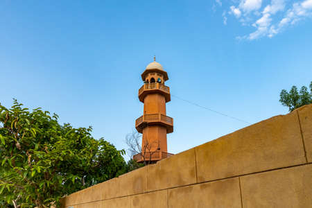 Hyderabad Eidgah Masjid Mosque Picturesque Breathtaking View of Minaret on a Sunset Blue Sky Day