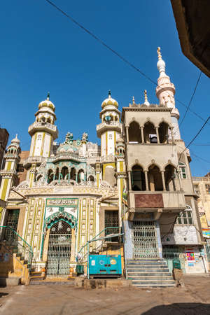 Hyderabad Jama Masjid Mosque at Old Fruit Market Picturesque View on a Sunny Blue Sky Day Stock fotó