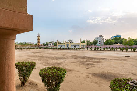 Hyderabad Eidgah Masjid Mosque Picturesque Breathtaking View of Complex on a Sunset Blue Sky Day