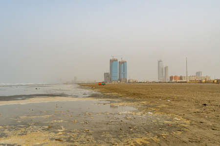 Karachi Clifton Beach Breathtaking Picturesque View of Skyscrapers Under Construction at Morning on a Cloudy Day Banco de Imagens
