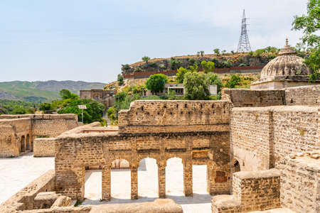 Chakwal Qila Katas Raj Hindu Temples Dedicated to Shiva Picturesque View of a Shrine on a Sunny Blue Sky Day