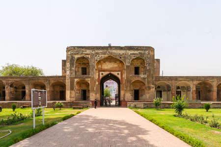 Lahore Shahdara Bagh Jahangir's Tomb Picturesque View of Entrance Gate on a Sunny Blue Sky Day