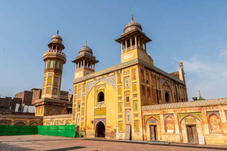 Lahore Wazir Khan Mughal Era Mosque Picturesque View of Minaret on a Sunny Blue Sky Day