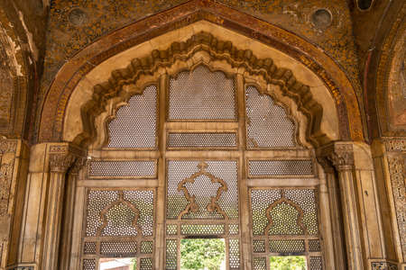 Lahore Fort Picturesque Breathtaking View of Sheesh Mahal Window on a Sunny Blue Sky Day Stock Photo