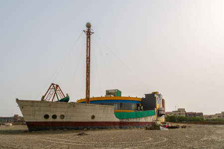 Karachi Clifton Beach Breathtaking Picturesque View of a Ship at Morning on a Cloudy Day