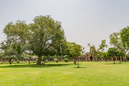 Lahore Shahdara Bagh Jahangirs Tomb Picturesque View of Corridor Walkway and Garden on a Sunny Blue Sky Day