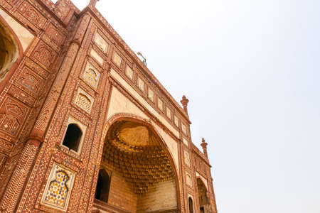 Lahore Shahdara Bagh Jahangir's Tomb Picturesque View of Bara Darwaza Gate on a Sunny Blue Sky Day