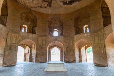 Lahore Shahdara Bagh Jahangir's Tomb Picturesque Interior View of Asif Khan Mausoleum on a Sunny Blue Sky Day