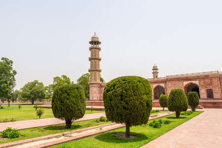 Lahore Shahdara Bagh Jahangir's Tomb Picturesque View of the Exterior Mausoleum with Clipped Hedges on a Sunny Blue Sky Day