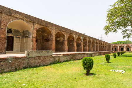 Lahore Shahdara Bagh Jahangir's Tomb Picturesque View of Corridor Walkway Wall on a Sunny Blue Sky Day