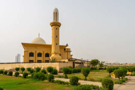 Karachi Bagh Ibn e Qasim Park with Picturesque Breathtaking View of Ashrafi Masjid Mosque on a Cloudy Day