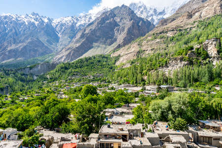 Karimabad Altit Town Breathtaking Picturesque View of the Old City on a Sunny Blue Sky Day
