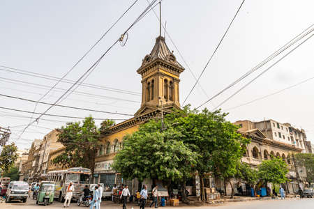 Karachi Common Building Picturesque View at Jinnah Road with Busy Traffic on a Cloudy Day