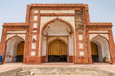 Lahore Shahdara Bagh Jahangir's Tomb Picturesque View of Masjid Maqbara Jahangir Mosque Iwan on a Sunny Blue Sky Day