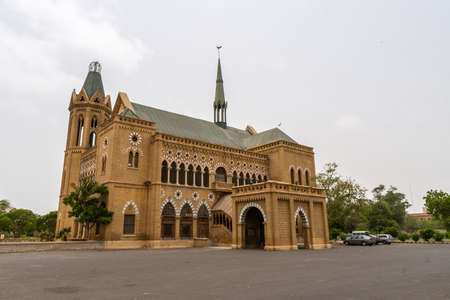 Karachi Frere Hall from the British Colonial Era Picturesque View of the Building on a Cloudy Day Banco de Imagens