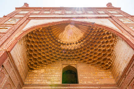Lahore Shahdara Bagh Jahangir's Tomb Picturesque View of Bara Darwaza Gate Muqarna Honeycomb on a Sunny Blue Sky Day