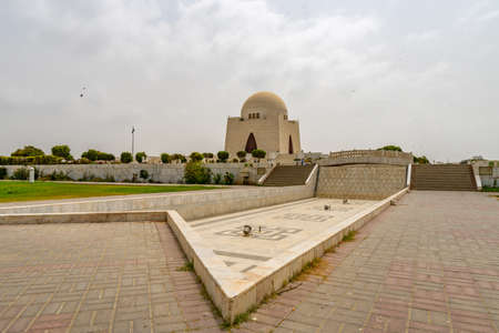 Karachi Mazar-e-Quaid Jinnah Mausoleum Picturesque View with Empty Fountain on a Cloudy Day
