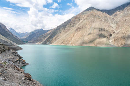 Skardu Satpara Valley Panoramic Picturesque View of the Lake and Landscape on a Sunny Blue Sky Day