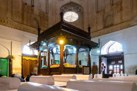 Multan Darbar Hazrat Bahauddin Zakariya Multani Tomb Picturesque Interior View of Praying Visitors