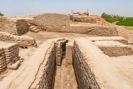 Larkana Mohenjo Daro Archaeological UNESCO World Heritage View of Divinity Street on a Sunny Blue Sky Day
