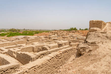 Larkana Mohenjo Daro Archaeological UNESCO World Heritage View of Excavated Remains of Urban Infrastructure on a Sunny Blue Sky Day