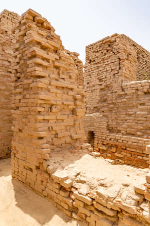 Larkana Mohenjo Daro Archaeological UNESCO World Heritage View of Dikshit DK Area Villa Wall of Wealthy Residents on a Sunny Blue Sky Day