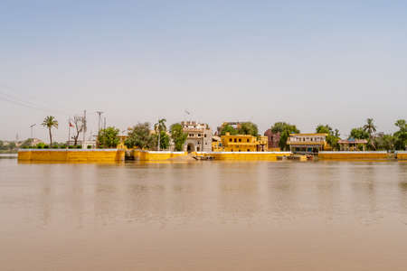 Sukkur Sadhu Bela Mandir Hindu Temple at the Indus River Picturesque View on a Sunny Blue Sky Day
