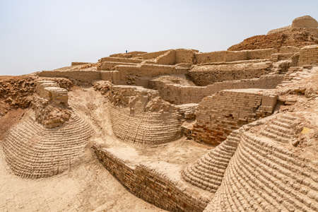 Larkana Mohenjo Daro Archaeological UNESCO World Heritage View of Buddhist Stupa on a Sunny Blue Sky Day