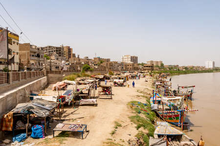 Sukkur Indus River Slums Located at the Shore of the Indus River Picturesque View on a Sunny Blue Sky Day