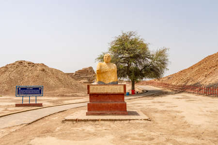 Larkana Mohenjo Daro Archaeological UNESCO World Heritage View of Site Priest King Statue on a Sunny Blue Sky Day Stock Photo