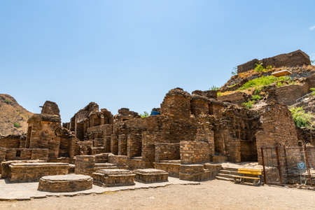 Mardan Takht-i-Bahi Throne of the Water Spring View of the Buddhist Monastery on a Sunny Blue Sky Day Stock Photo