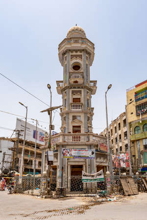 Sukkur Ghanta Ghar Clock Tower at City Center Roundabout Picturesque View on a Sunny Blue Sky Day