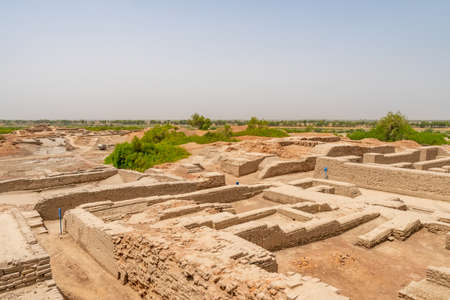 Larkana Mohenjo Daro Archaeological UNESCO World Heritage View of Excavated Remains of Urban Infrastructure on a Sunny Blue Sky Day Stock Photo