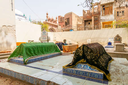 Multan Inner City Street Picturesque View of Mausoleum Grave Coffins on a Sunny Blue Sky Day