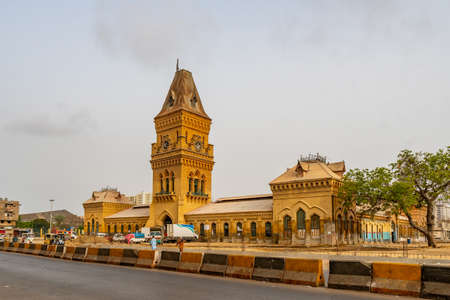 Karachi Empress Market Saddar at Shahrah-e-Liaquat Street Picturesque View with Busy Traffic on a Cloudy Day