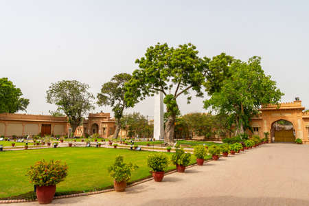 Karachi Mohatta Palace Museum Picturesque View of Garden Obelisk at Hatim Alvi Road on a Cloudy Day Editorial