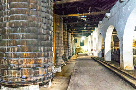 Porto Croft Port Wine Cellar Picturesque Interior View of Huge Traditional Wine Barrels