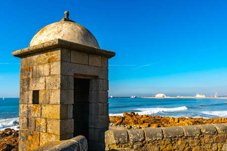 Porto Fort of Saint Francis Xavier Picturesque View with Watchtower on a Sunny Blue Sky Day 版權商用圖片