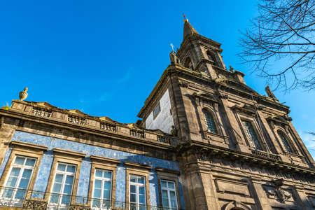 Porto Igreja da Santissima Trindade Church Breathtaking Picturesque View on a Blue Sky Day in Winter