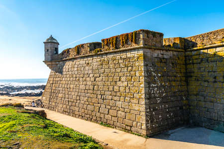 Porto Fort of Saint Francis Xavier Picturesque View with Watchtower on a Sunny Blue Sky Day Foto de archivo