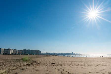 Porto Praia de Matosinhos Beach Picturesque View with Sun Rays on a Sunny Blue Sky Day