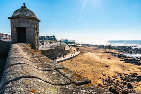 Porto Fort of Saint Francis Xavier Picturesque View with Watchtower on a Sunny Blue Sky Day Stok Fotoğraf