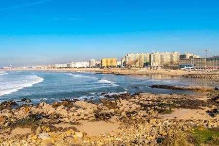 Porto Praia de Matosinhos Beach Picturesque View from Fort of Saint Francis Xavier on a Sunny Blue Sky Day