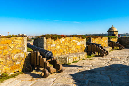 Porto Fort of Saint Francis Xavier Picturesque View with Cannon Guns on a Sunny Blue Sky Day