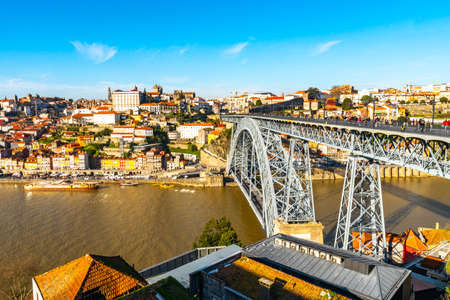 Porto Luis I Bridge Breathtaking Picturesque High Angle View on a Blue Sky Day in Winter